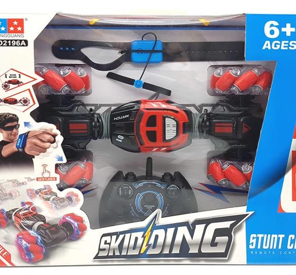 машинка перевертыш Skidding Stunt Car управление жестами, синий